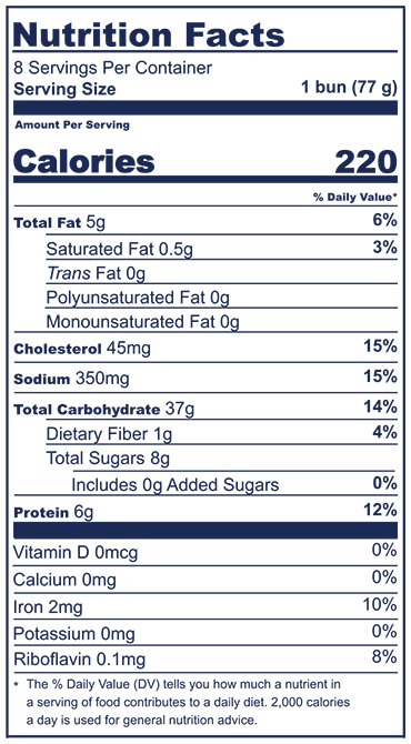 Challah Bun Nutrition Facts