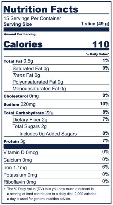 Multigrain Nutrition Facts